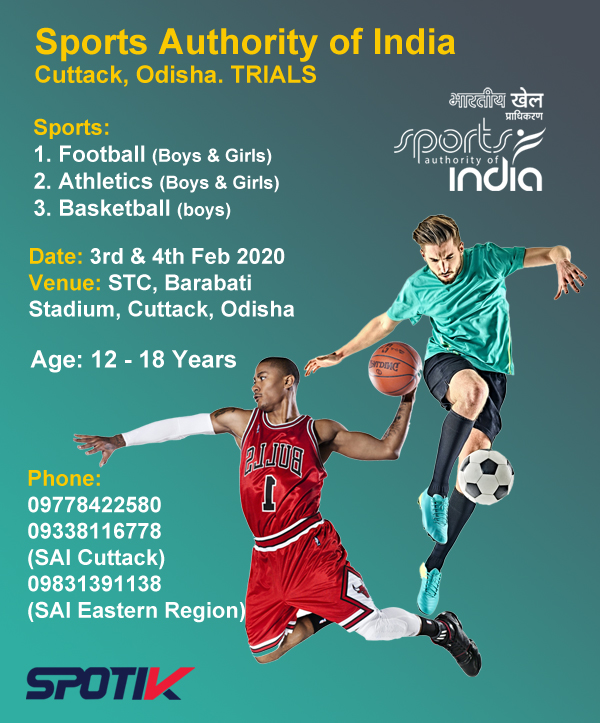 Sports Authority of India, Cuttack, Odisha. Selection Trials