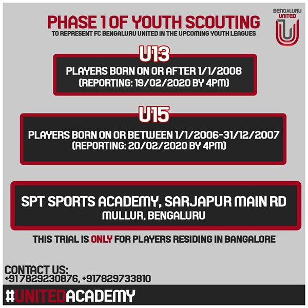 FC Bengaluru United Youth Scouting