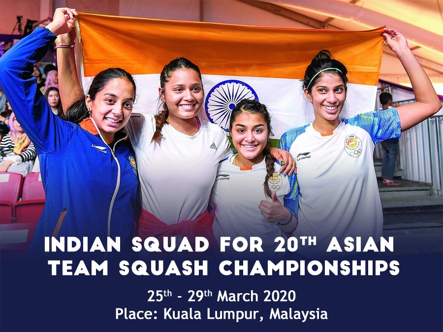 Indian squad for 20th Asian Team Squash Championships