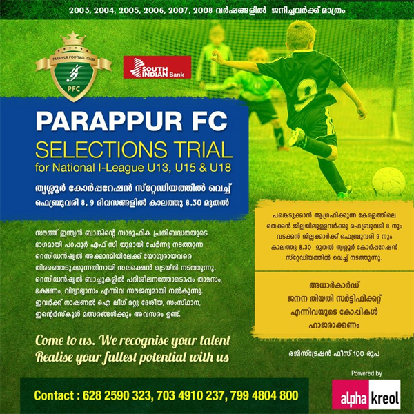 Parappur FC 2020 selection trials for youth I league.