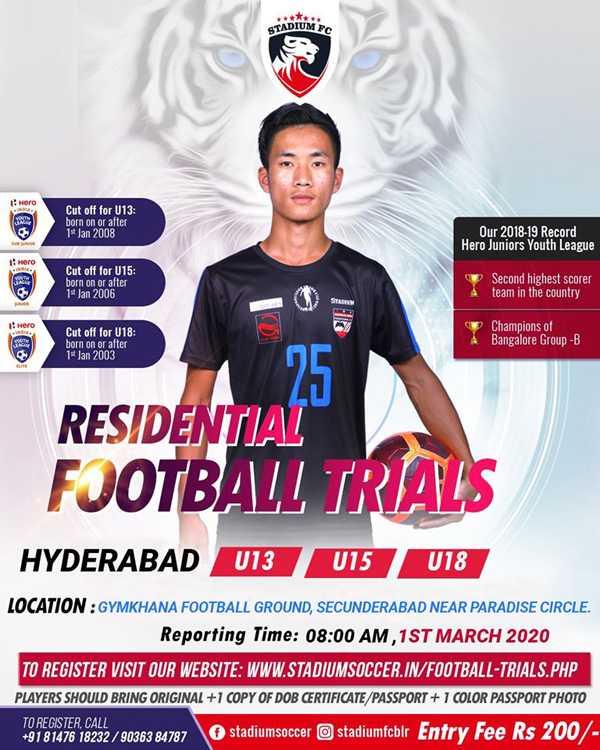 Stadium Soccer School - Hyderabad Trials