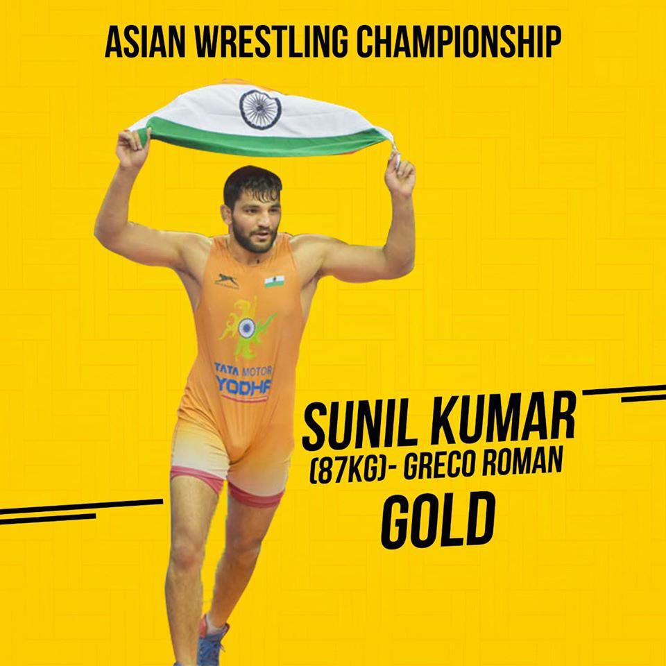 Sunil Kumar (87kg) has won the gold medal