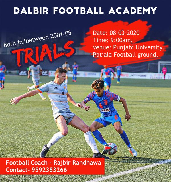 Dalbir Football Academy Trials for session 2020-21