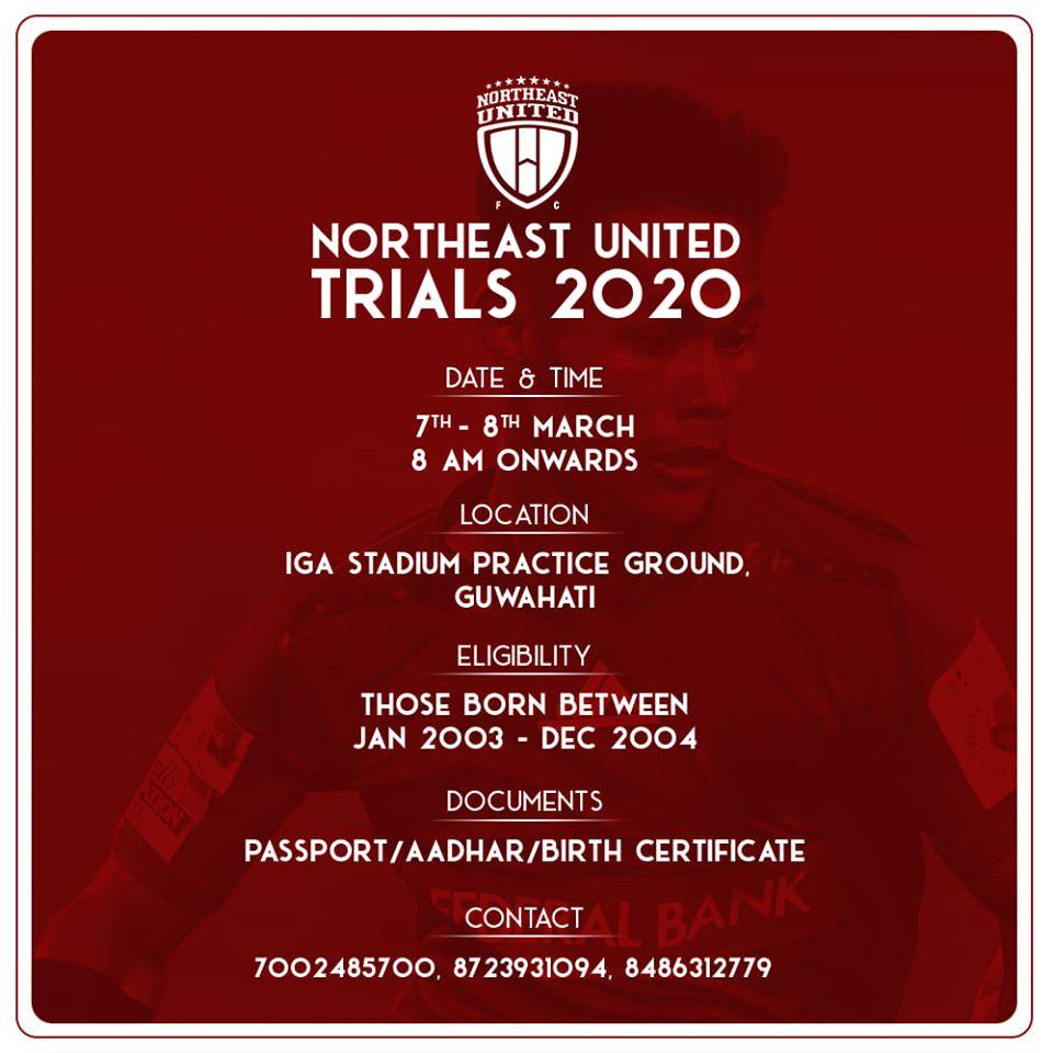NorthEast United FC Youth Team Trials