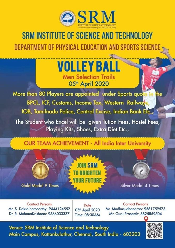 SRM institute of science and technology Volleyball Trials