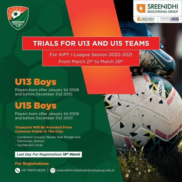 Sreenidhi Football Club, Hyderabad Trials
