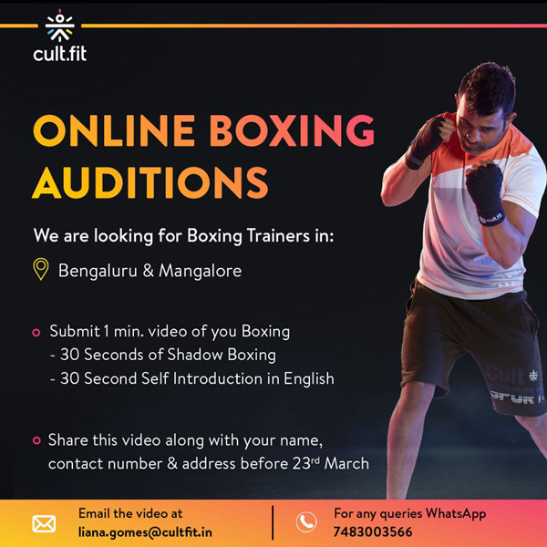 Cult.fit looking for Boxing trainers, Bengaluru