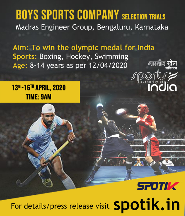 Boys Sports Company Selection Trials, Bengaluru