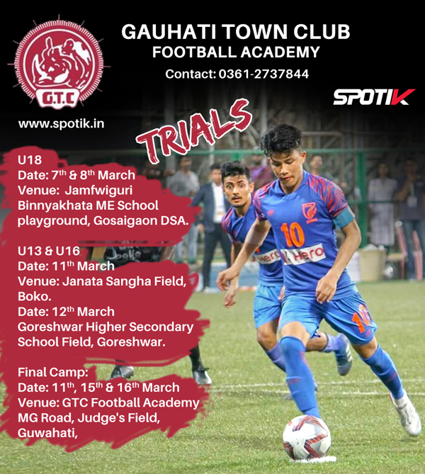 Gauhati Town Club Football Academy Trials.