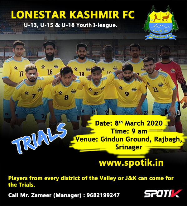 Lonestar Kashmir FC Youth I-league Trials.