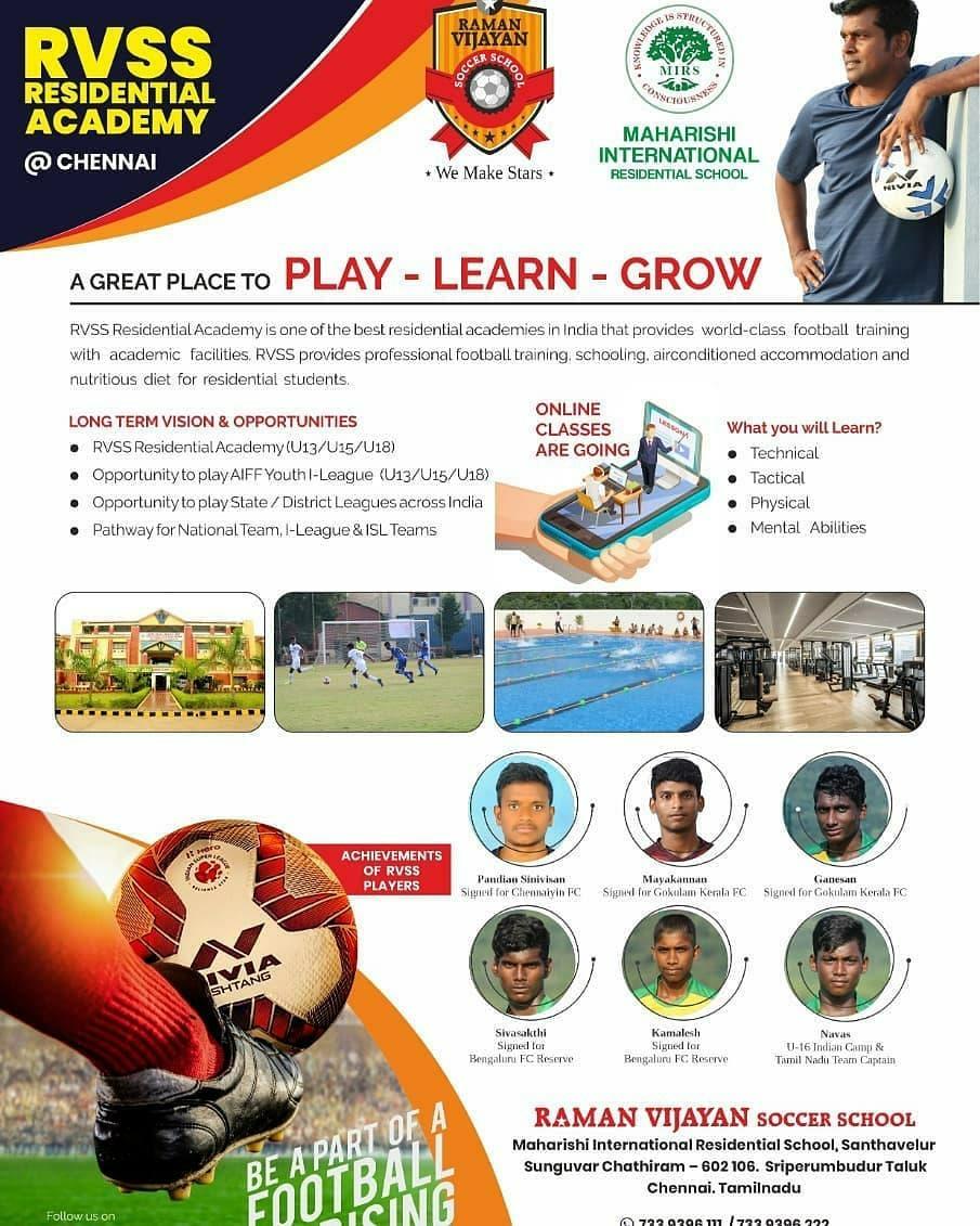 Admission for Raman vijayan soccer school Residential Academy, Chennai