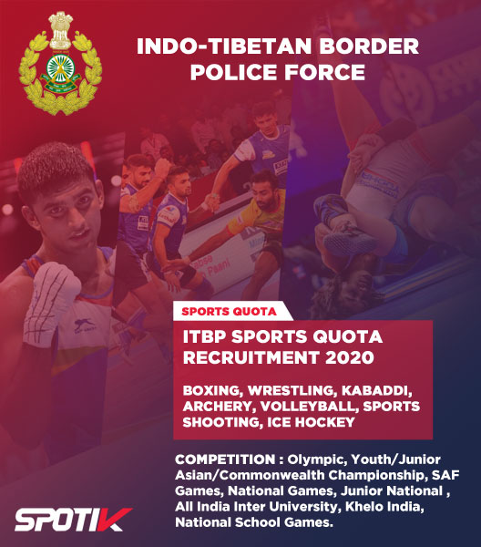 Indo Tibetan Border Police Force (ITBP) Sports Quota Recruitment 2020
