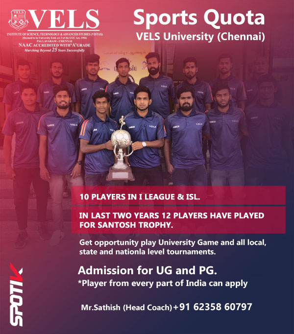 VELS University Admission : Sports Quota, Chennai