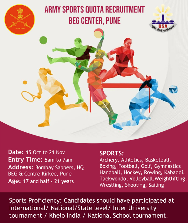 Army Sports Quota, BEG Kirkee Pune