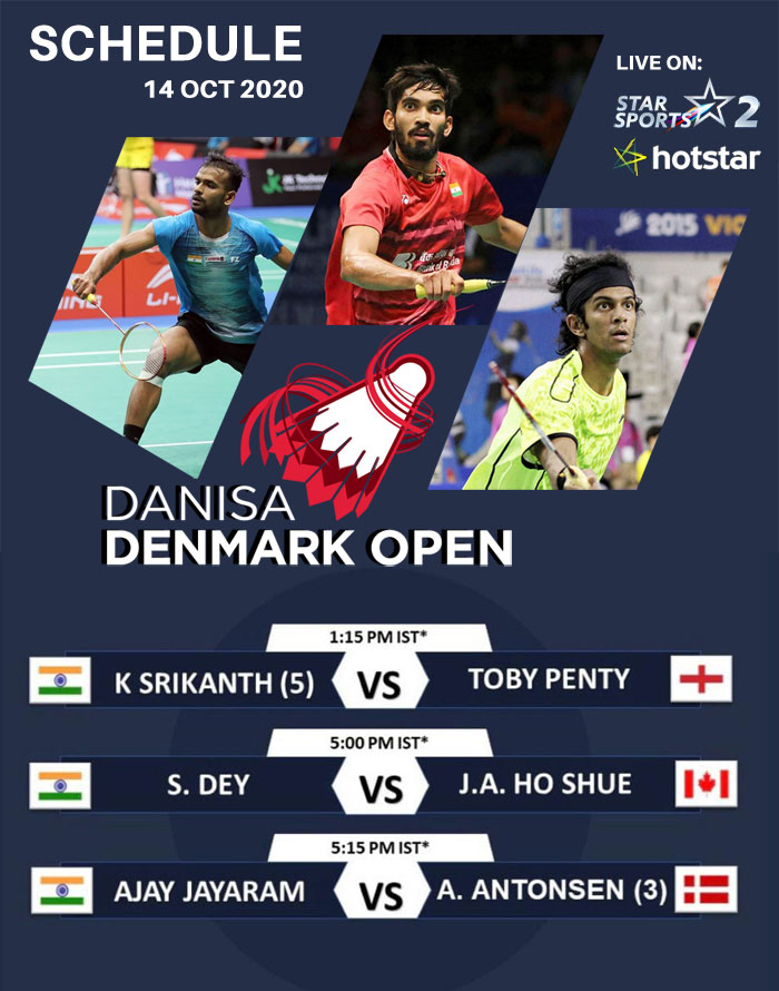 K Srikanth, S Day & Ajay Jayaram will start their campaign at Denmark Open tomorrow.