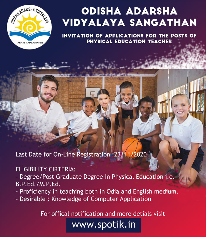 Invitation of applications for the posts of PET in the Odisha Adarsha Vidyalaya
