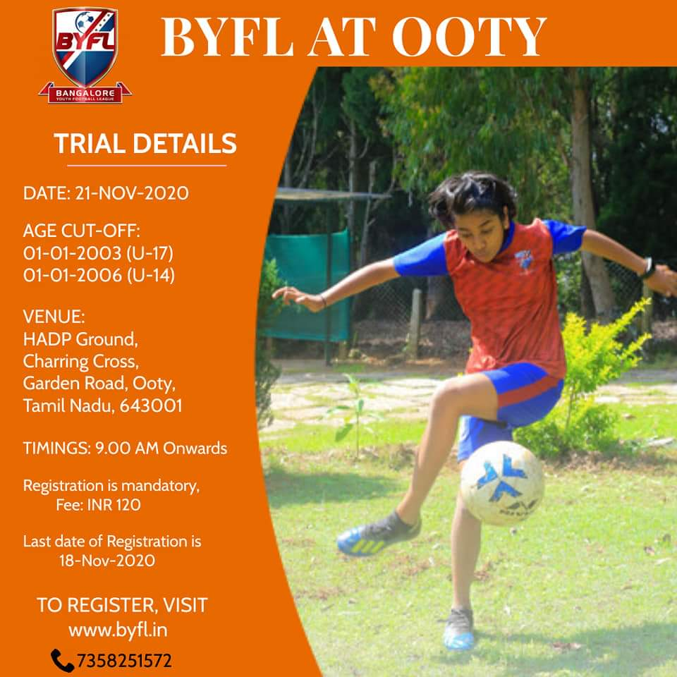 Bangalore Youth Football League, Ooty Trials