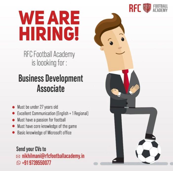 RFC Football Academy Hiring Business Development Associate.