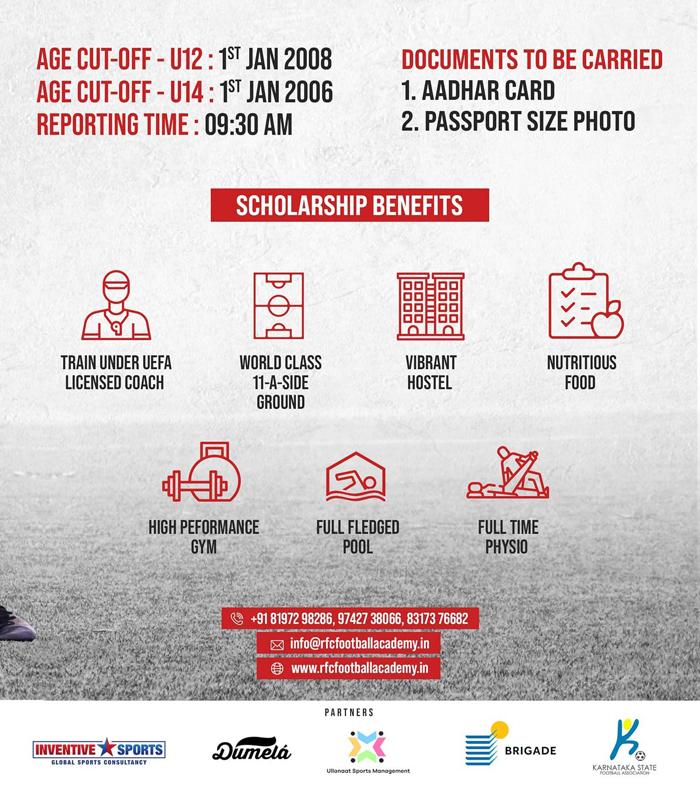 RFC Football Academy Trials,  Bangalore