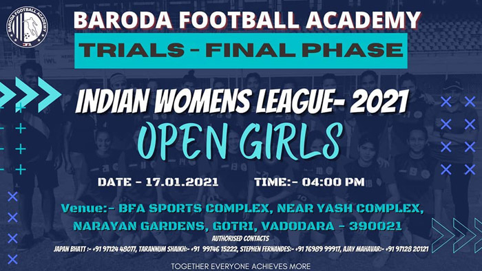 Baroda Football Academy IWL Trials, Vadodara