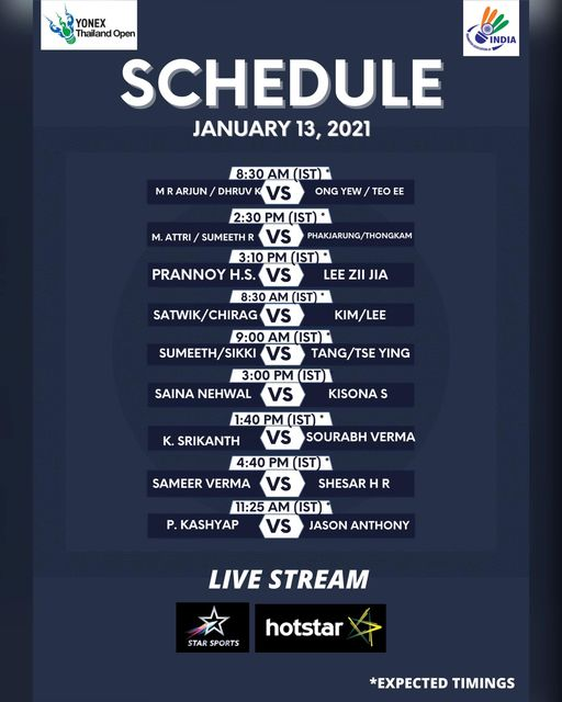 YONEX Thailand Open Schedule