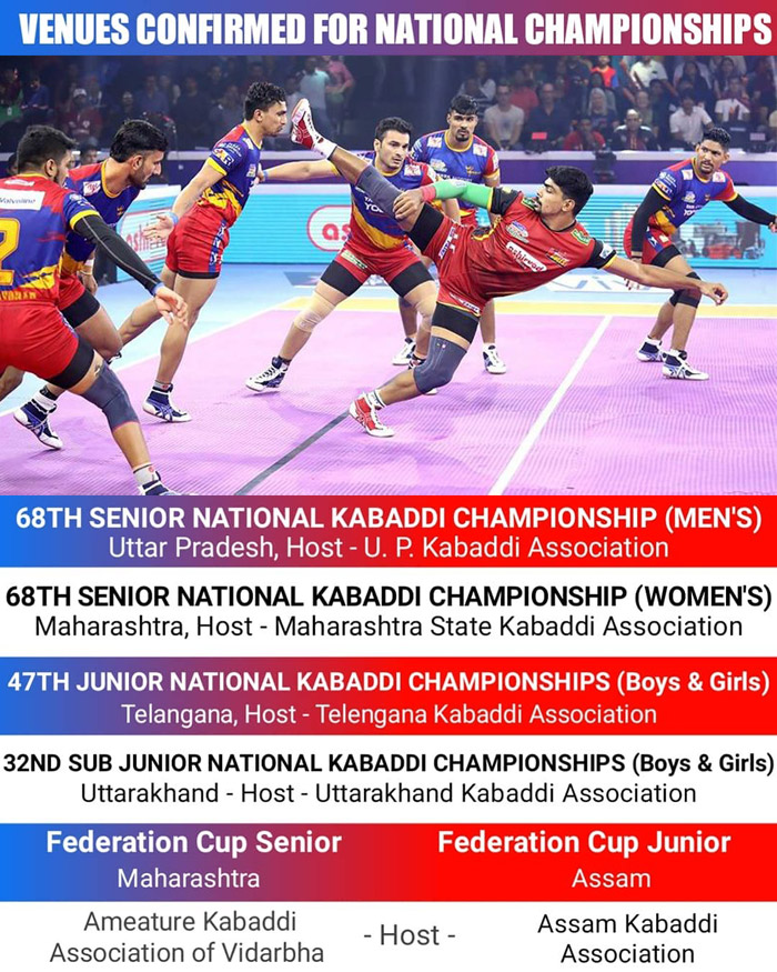 Senior National Kabaddi Championship Venues Confirmed.