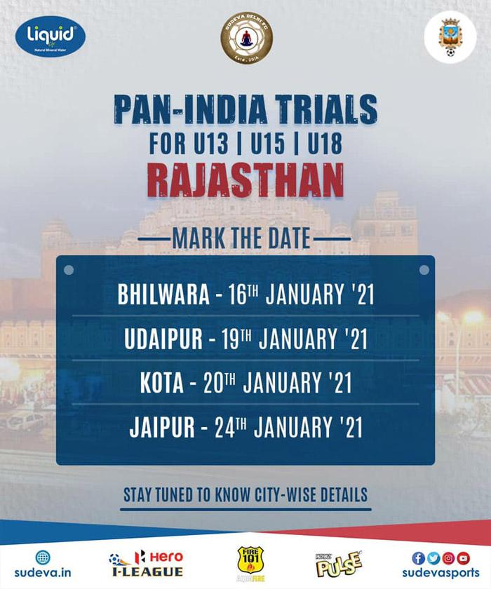 Sudeva FC Trials Udaipur, Kota & Jaipur