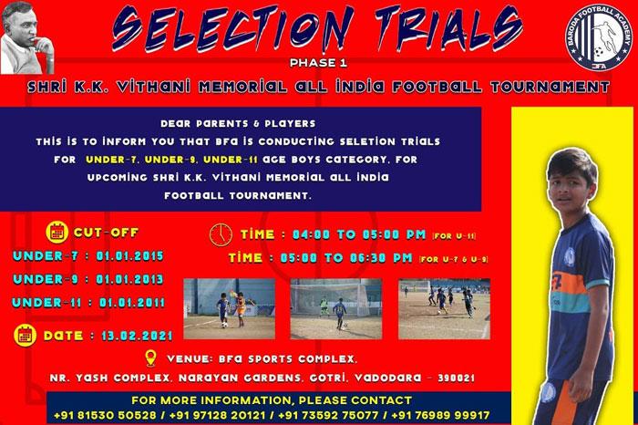 Baroda Football Academy Trials, Vadodara