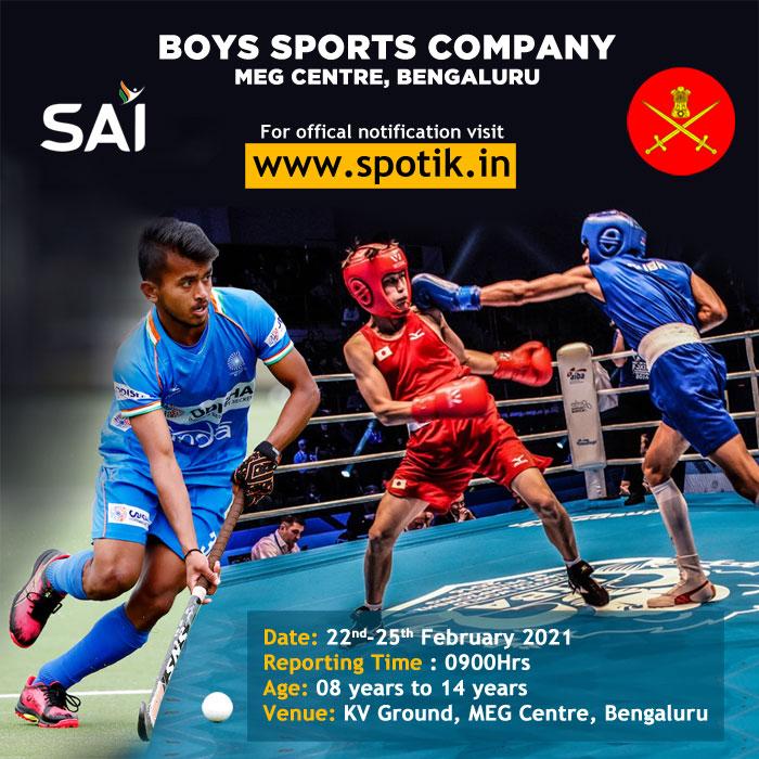 Boys Sports Company MEG Centre, Open Selection Trials, Bengaluru.