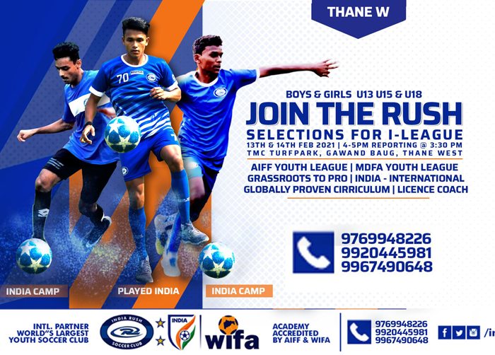 India Rush Soccer Club Trials for Youth I-league