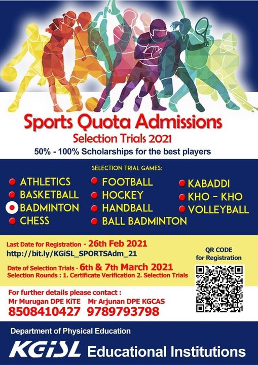 KGISL Educational Institutions - Sports Quota , Coimbatore