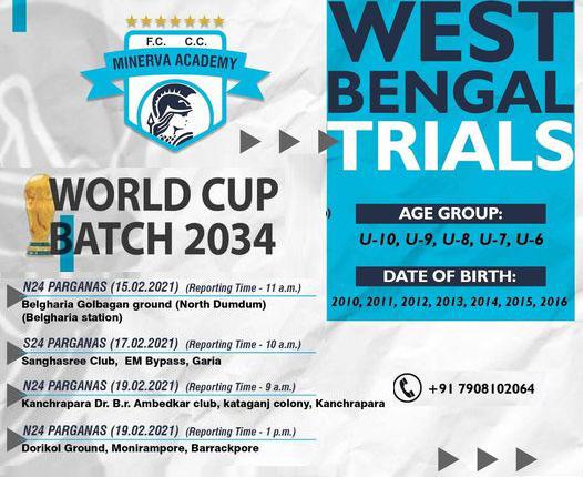 Minerva Academy FC West Bengal Trials - Scholarship Program