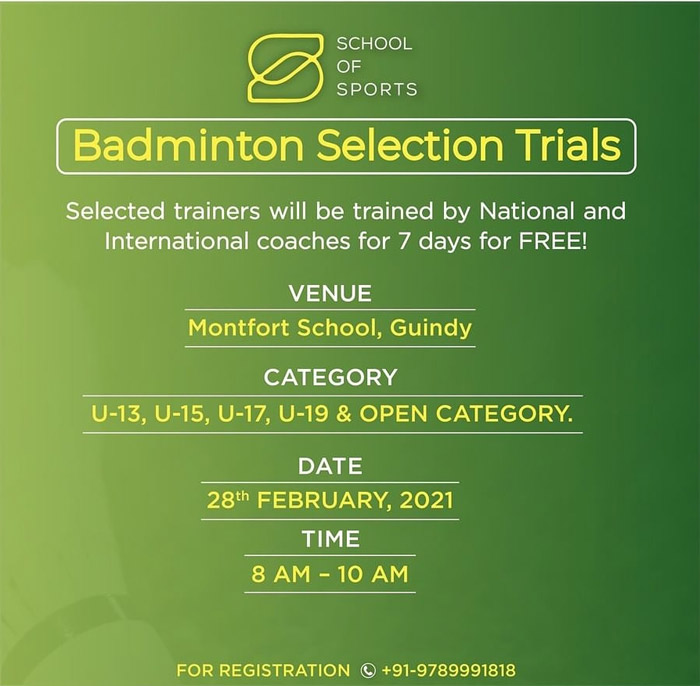 School of Sports Badminton Trials, Chennai