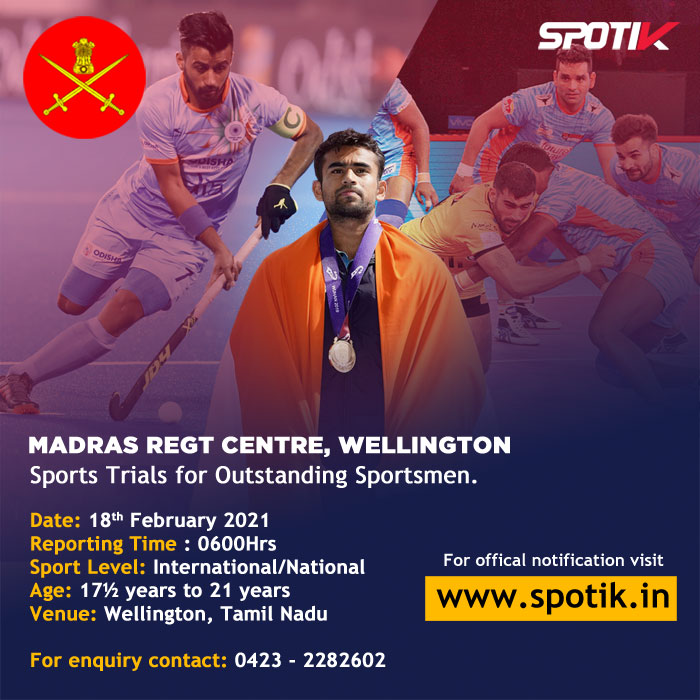Madras Regiment Center - Sports Trials for Outstanding Sportsmen.