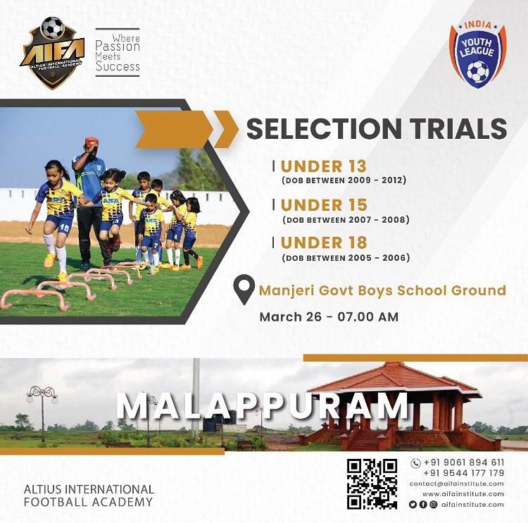 Altius International Football Academy Trials Malappuram, Kerala