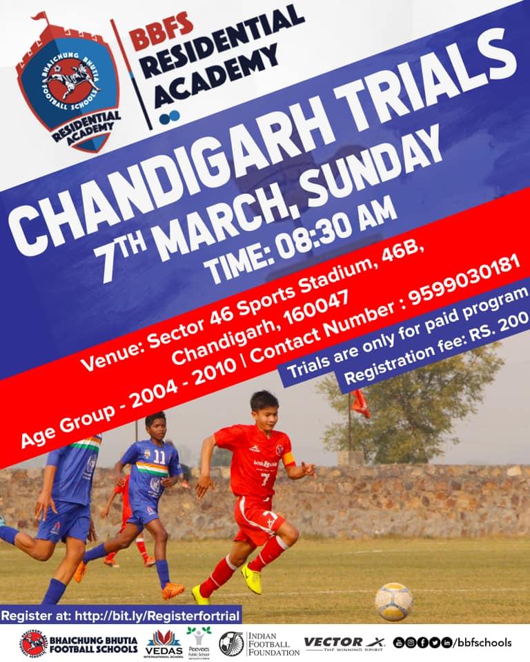 Bhaichung Bhutia Football Schools, Chandigarh Trials