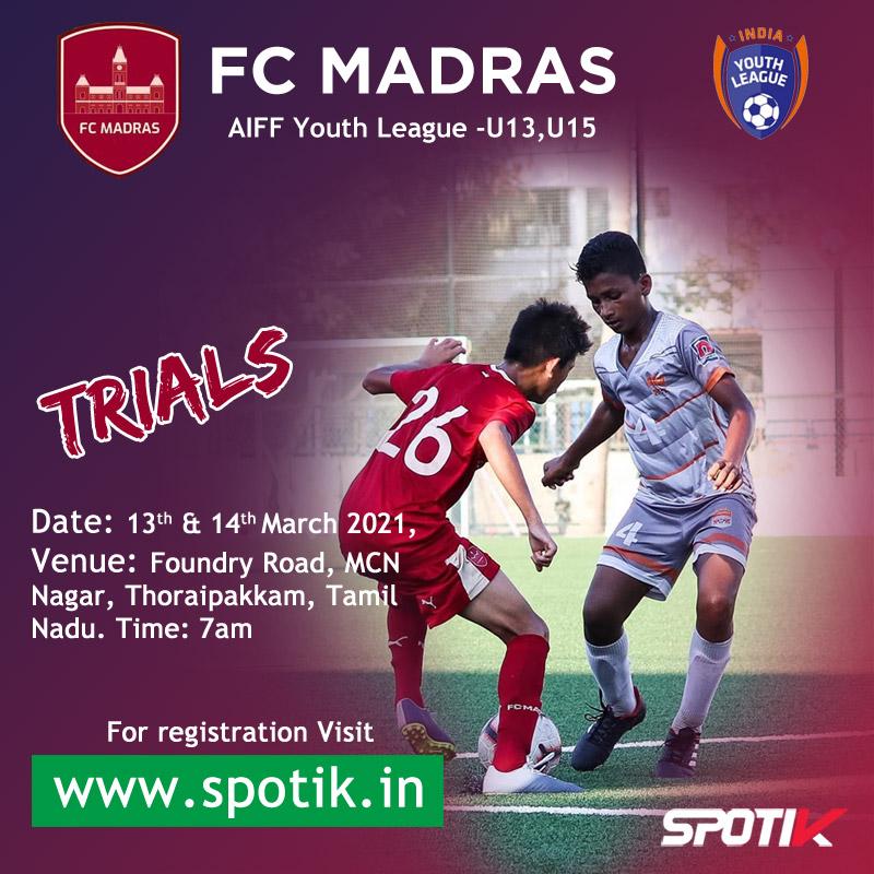 FC Madras U13 & U15 Trials, Chennai