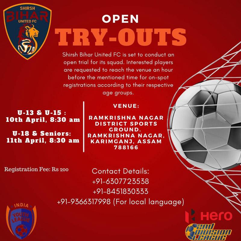 Shirsh Bihar United FC Assam Trials