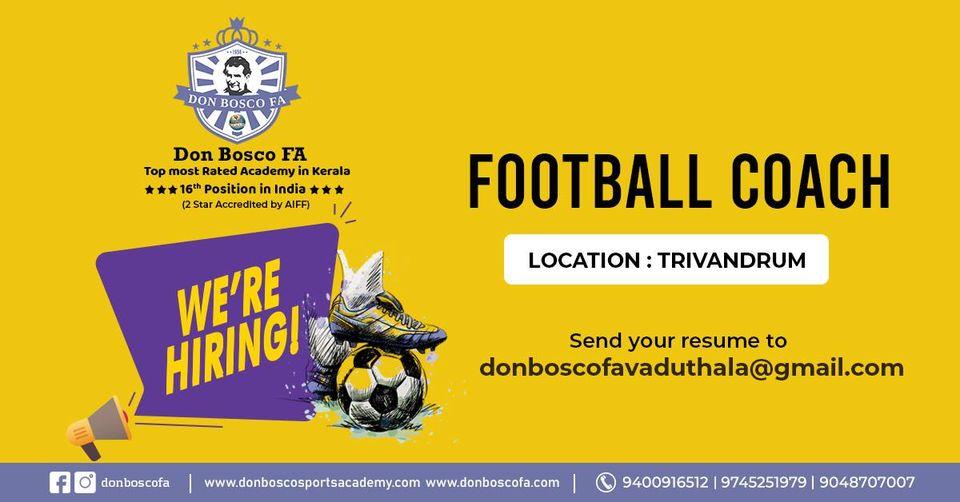 DON BOSCO Football Academy looing for Football Coach
