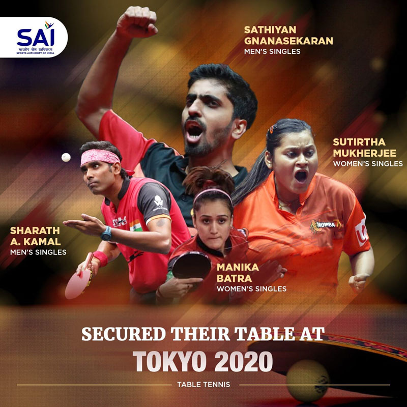 Table tennis: Four Indian players qualify for Tokyo 2020 Olympics