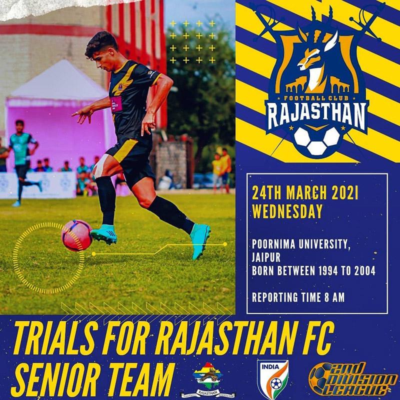 Rajasthan FC Senior Team Trials, Jaipur