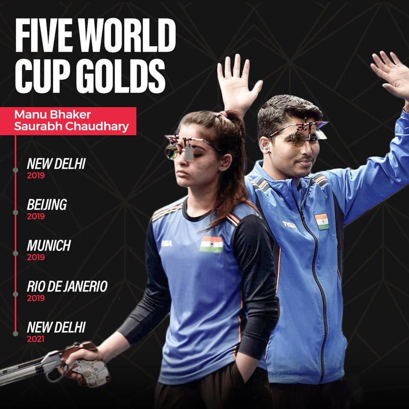 Manu Bhaker, Saurabh Chaudhary clinch gold