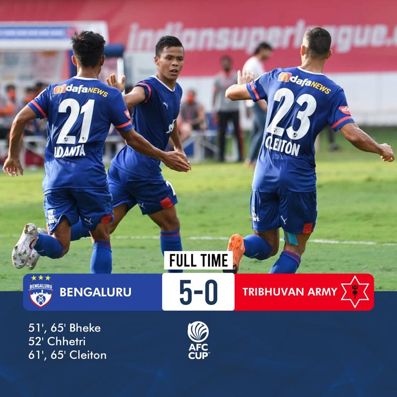 Bengaluru FC cruise past Tribhuvan Army FC, enter AFC Cup playoffs