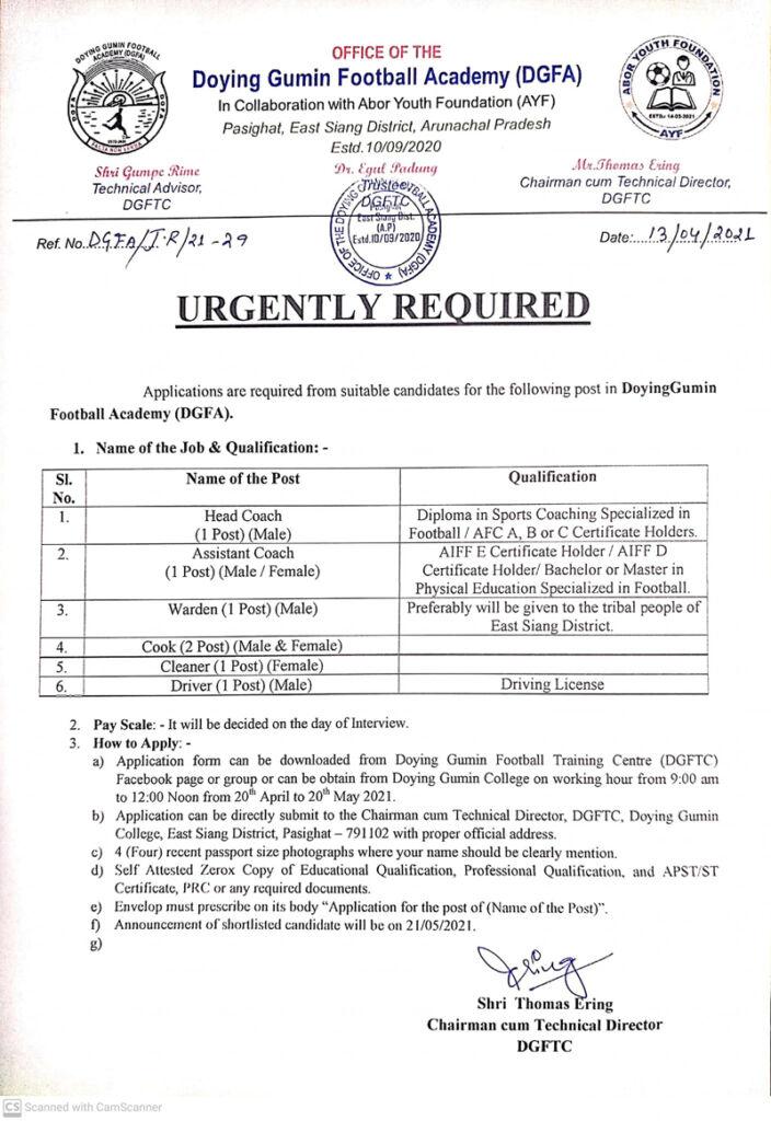 Doying Gumin FA urgently looking for football coach, Arunachal Pradesh