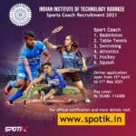Indian Institute of Technology Roorkee, Sports Coach Recruitment 2021