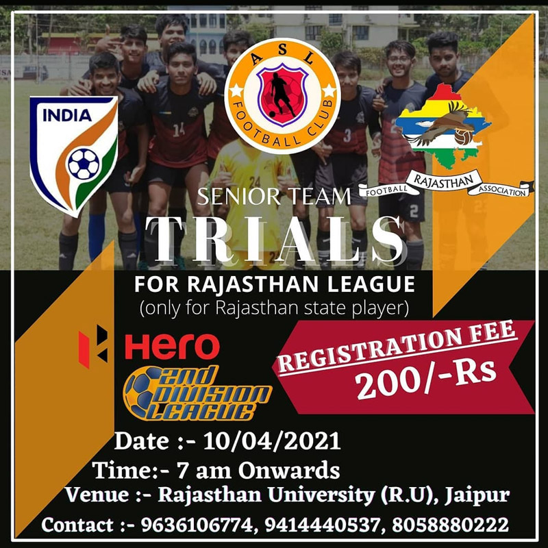 ASL FC Senior Team Trials, Jaipur