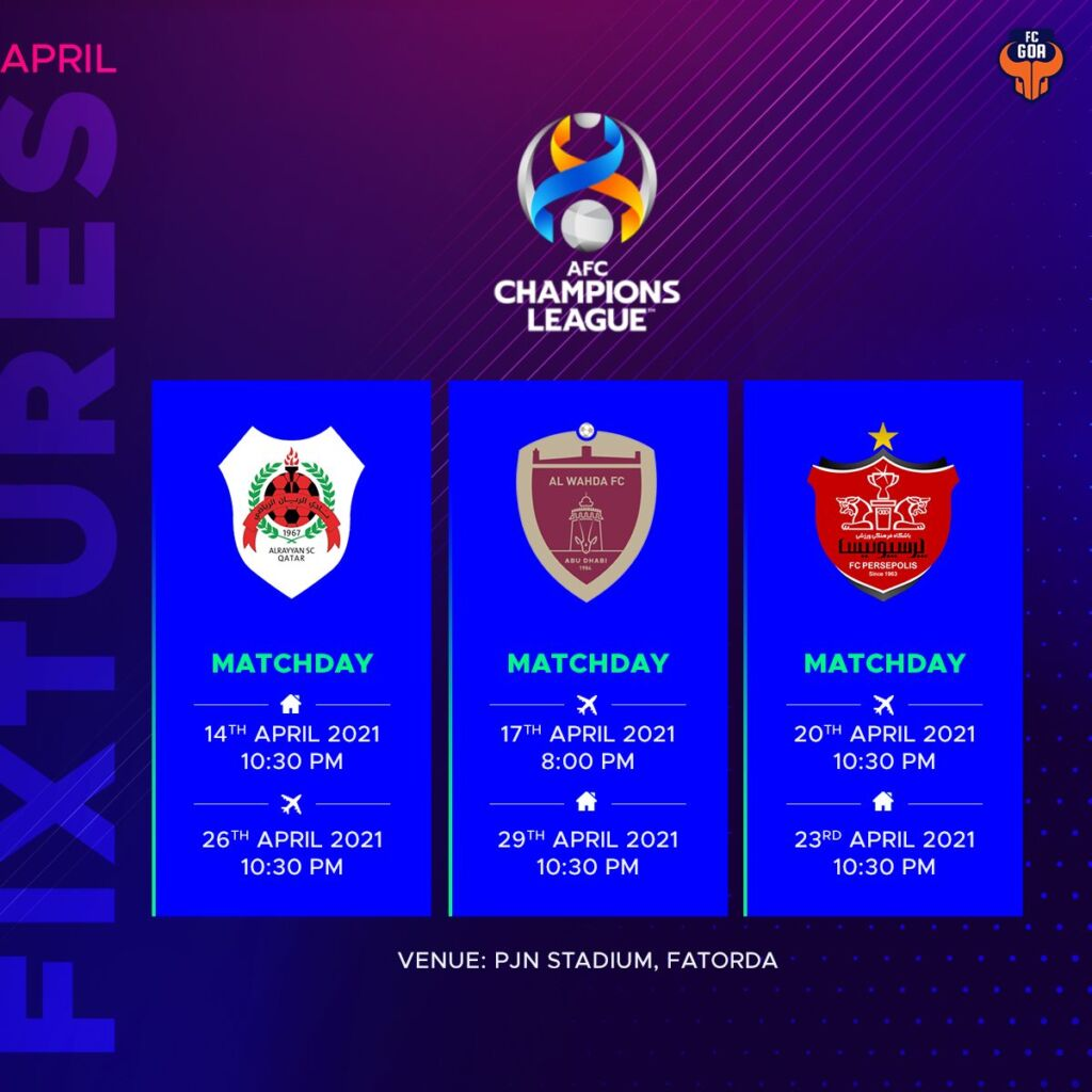 FC Goa Fixtures