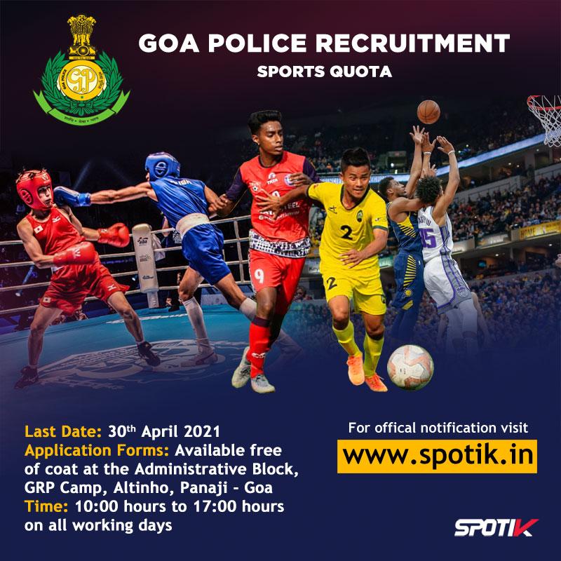 Goa Police Recruitment 2021 - Sports Quota