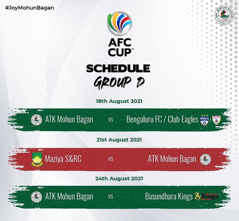 AFC Cup (South) Group D, ATK Mohun Bagan Schedule