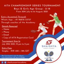 AITA (@aitatennis_official ) and Shaishya Sports Academy Presents Championship Series Tennis Tournament